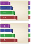 Papers with colored and folded bookmarks, horizontal Stock Illustration