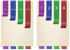Papers with colored and folded bookmarks, vertical Stock Illustration