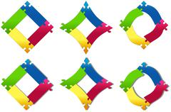 puzzle colored squares variations - stock illustration