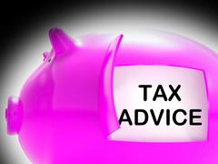 Tax advice piggy bank message shows advising about taxes Stock Illustration