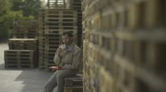 Manual worker having a lunch break; Full HD Photo JPEG - stock footage