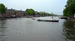 Amstel River in Amsterdam Stock Footage