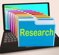 Research folders laptop mean investigation gathering data and analysing Stock Illustration