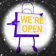 We're open sign on shopping bag shows new store launch or opening Stock Illustration