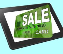 Sale bank card calculated shows retail bargains and discounts Stock Illustration
