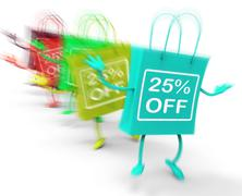 twenty-five percent off on colored bags show bargains - stock illustration