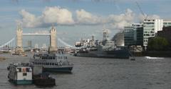 HMS Belfast near Tower Bridge, London 4K Stock Footage