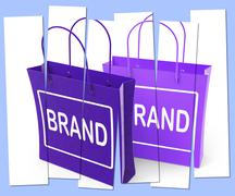 Brand shopping bags show branding product label or trademark Piirros