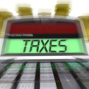 Taxes calculated means taxation of income and earnings Stock Illustration