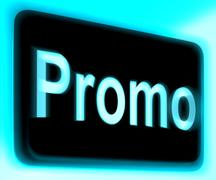 Promo sign shows discount reduction or save Stock Illustration