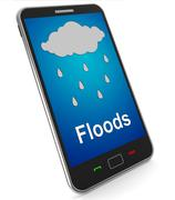Stock Illustration of mobile phone shows rain weather forecast