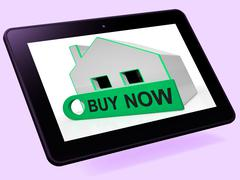 buy now house tablet means express interest or make an offer - stock illustration