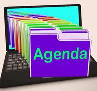 Agenda folders laptop show schedule lineup or timetable Stock Illustration