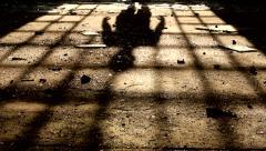 Shadow of a man walking Stock Footage