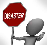 Disaster red stop sign shows crisis trouble or calamity Stock Illustration