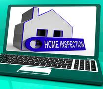 home inspection house laptop means inspect property thoroughly - stock illustration