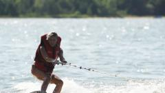 Sports Girl on Wakeboard Stock Footage