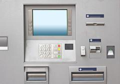 Modern bank atm machine with large display Stock Photos