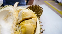 4k UHD time lapse video on picking Maoshan Wang durian with finger. Stock Footage