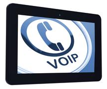 voip tablet means voice over internet protocol or broadband telephony - stock illustration