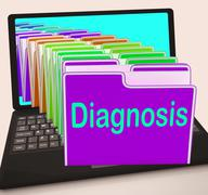 diagnosis folder laptop shows medical conclusions and illness - stock illustration