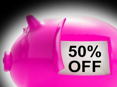 Fifty percent off piggy bank message shows 50 price cut Stock Illustration