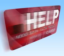 Help bank card flying means give monetary support and assistance Stock Illustration