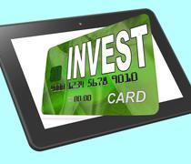 Invest on credit debit card tablet shows investing money Stock Illustration