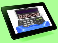 Tax advice calculator tablet shows assistance with taxes Stock Illustration