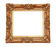 Gold antique frame isolated with clipping path - stock photo