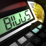 Bills calculated means invoices payable and owing Stock Illustration
