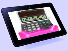 hot deals calculator tablet shows promotional offer and savings - stock illustration