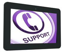 Support tablet shows call for advice Stock Illustration
