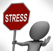 Stress red stop sign shows stopping tension and pressure Piirros