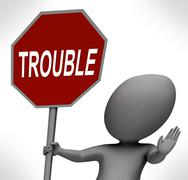 Trouble red stop sign means stopping annoying problem troublemaker Stock Illustration