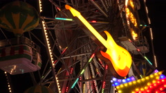 Neon guitar. Golden Sands. Resort in Bulgaria. 4K. Stock Footage