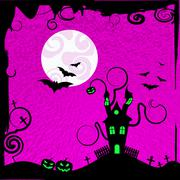 Haunted house indicating trick or treat and full moon Stock Illustration
