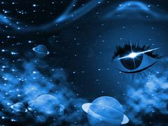 Space background meaning eyes design and astronomy Stock Illustration