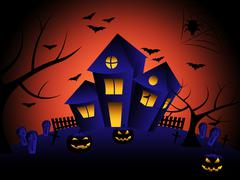 haunted house meaning trick or treat and halloween horror - stock illustration