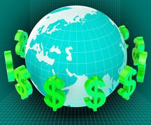 Forex globe representing currency exchange and usd Stock Illustration