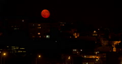 Red Moon in İstanbul Stock Footage