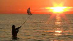 Fishing at sunset - Baltic Sea, Northern Germany Stock Footage