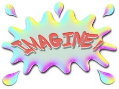 inspirational illustration series imagine with splash - stock illustration