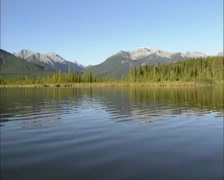 Vermilion Lake in mountain scenery, autumn. Banff National Park, Canada. Stock Footage