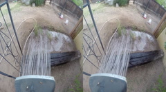 3D hose point of view watering Stock Footage