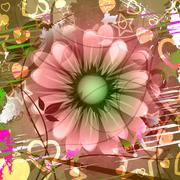 grunge copyspace showing florals flowers and flora - stock illustration
