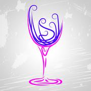Wine glass meaning alcoholic beverage and wineglass Stock Illustration