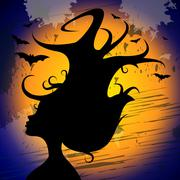 Woman head meaning trick or treat and happy halloween Stock Illustration