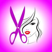 Haircut woman representing hairstylist haircare and hairstyling Stock Illustration