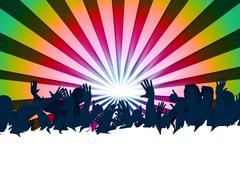 audience concert showing group of people and music festival - stock illustration